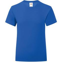 Textiel Meisjes T-shirts korte mouwen Fruit Of The Loom Iconic Royaal Blauw