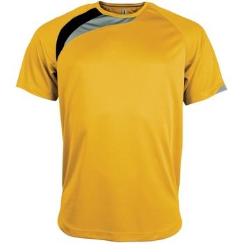 Textiel Heren T-shirts korte mouwen Kariban Proact Proact Geel/ Zwart/ Stormgrijs