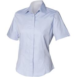 Textiel Heren Overhemden korte mouwen Henbury HB556 Lichtblauw