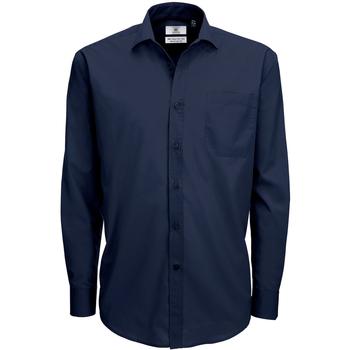 Textiel Heren Overhemden lange mouwen B And C Poplin Marine Blauw