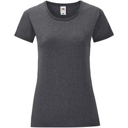 Textiel Dames T-shirts korte mouwen Fruit Of The Loom Iconic Donker Heather