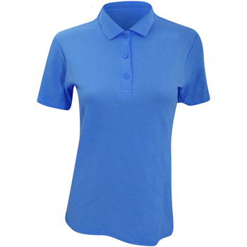 Textiel Dames Polo's korte mouwen Anvil Pique Zwembad Blauw