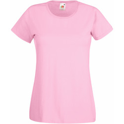 Textiel Dames T-shirts korte mouwen Fruit Of The Loom 61372 Licht Rose