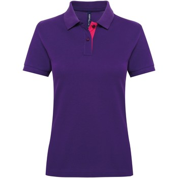 Textiel Dames Polo's korte mouwen Asquith & Fox Contrast Paars/Roze