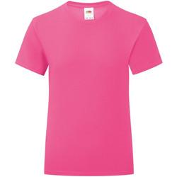 Textiel Meisjes T-shirts korte mouwen Fruit Of The Loom Iconic Fuchsia Roze