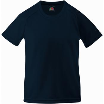 Textiel Kinderen T-shirts korte mouwen Fruit Of The Loom Performance Diep Marine