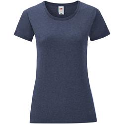 Textiel Dames T-shirts korte mouwen Fruit Of The Loom Iconic Heather Marine