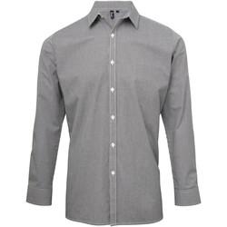 Textiel Heren Overhemden lange mouwen Premier Microcheck Zwart/Wit