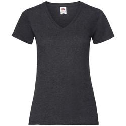 Textiel Dames T-shirts korte mouwen Fruit Of The Loom 61398 Donker Heather