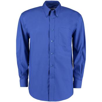 Textiel Heren Overhemden lange mouwen Kustom Kit Oxford Koningsblauw