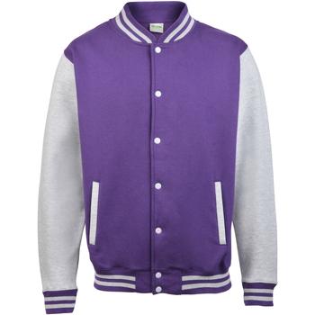 Textiel Kinderen Wind jackets Awdis Varsity Paars / Heide Grijs