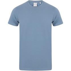 Textiel Heren T-shirts korte mouwen Skinni Fit Stretch Steen Blauw