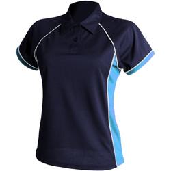 Textiel Dames Polo's korte mouwen Finden & Hales LV371 Marine / Lucht / Wit