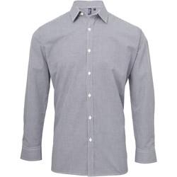 Textiel Heren Overhemden lange mouwen Premier Microcheck Marine / Wit