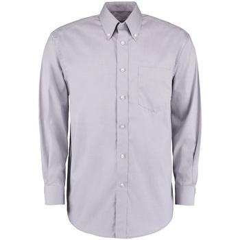 Textiel Heren Overhemden lange mouwen Kustom Kit Oxford Zilvergrijs