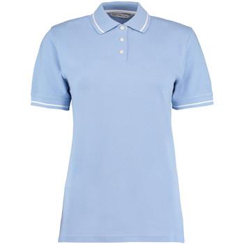 Textiel Dames Polo's korte mouwen Kustom Kit Mellion Lichtblauw/Wit