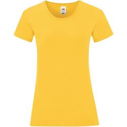 Textiel Meisjes T-shirts korte mouwen Fruit Of The Loom Iconic Zonnebloem Geel