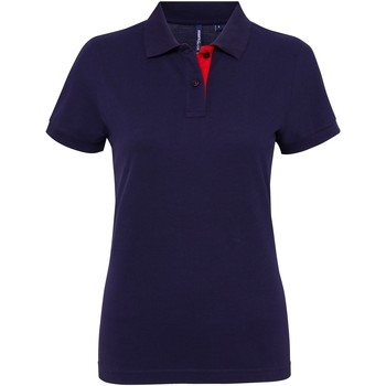 Textiel Dames Polo's korte mouwen Asquith & Fox Contrast Marine / Rood