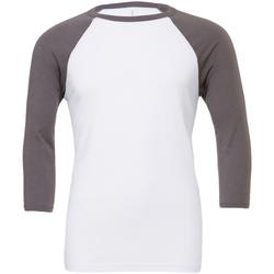 Textiel Heren T-shirts met lange mouwen Bella + Canvas Baseball Wit/Asfalt