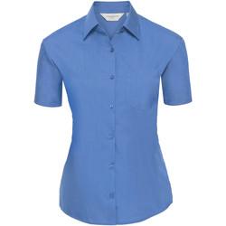 Textiel Dames Overhemden Russell Poplin Bedrijfsblauw