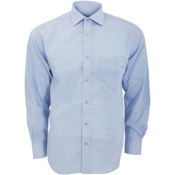 Textiel Heren Overhemden lange mouwen Kustom Kit Premium Lichtblauw