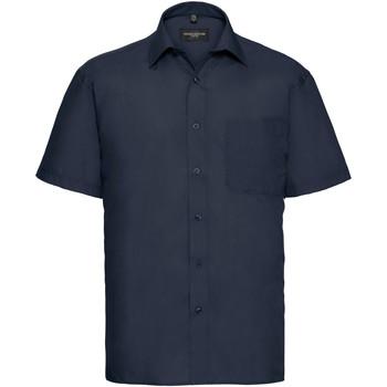 Textiel Heren Overhemden korte mouwen Russell Poplin Franse marine