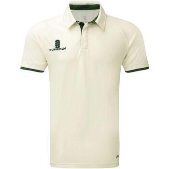 Textiel Jongens Polo's korte mouwen Surridge SU13B Wit/Groene versiering