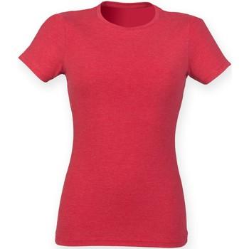 Textiel Dames T-shirts korte mouwen Skinni Fit Triblend Rode Triblend