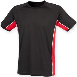 Textiel Heren T-shirts korte mouwen Finden & Hales Performance Zwart / Rood / Wit