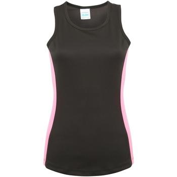Textiel Dames Mouwloze tops Awdis Girlie Jet Zwart/Elektrisch Roze