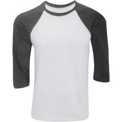 Textiel Heren T-shirts met lange mouwen Bella + Canvas Baseball Wit/donkergrijs