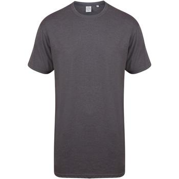 Textiel Heren T-shirts korte mouwen Skinni Fit Dipped Hem Heide Houtskool