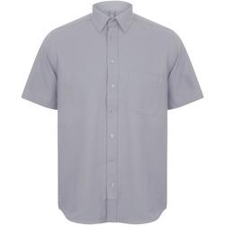Textiel Heren Overhemden korte mouwen Henbury HB595 Leisteengrijs