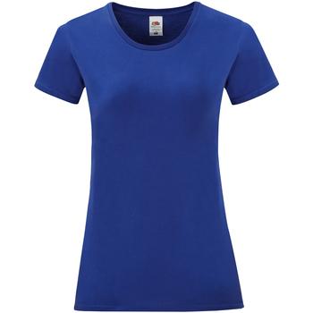 Textiel Dames T-shirts korte mouwen Fruit Of The Loom Iconic Colbalt Blauw