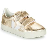 Schoenen Meisjes Lage sneakers Veja SMALL-ESPLAR-VELCRO Goud / Wit