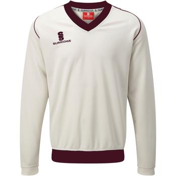 Textiel Heren Sweaters / Sweatshirts Surridge SU008 White/Maroen afwerking