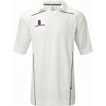 Textiel Heren T-shirts korte mouwen Surridge SU009 White/Maroen afwerking