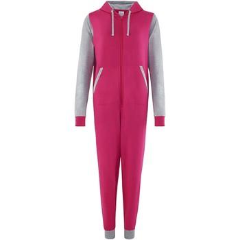 Textiel Jumpsuites / Tuinbroeken Comfy Co CC003 Heet Roze/Heather Grey