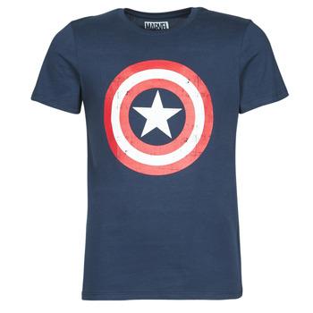 Textiel Heren T-shirts korte mouwen Yurban CAPTAIN AMERICA LOGO Marine