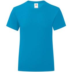 Textiel Meisjes T-shirts korte mouwen Fruit Of The Loom Iconic Azuurblauw