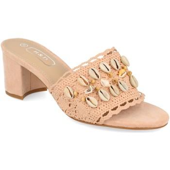 Schoenen Dames Leren slippers H&d YZ19-150 Rosa
