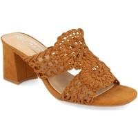 Schoenen Dames Leren slippers H&d YZ19-68 Camel