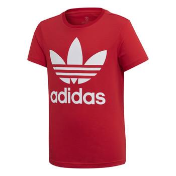 Textiel Kinderen T-shirts korte mouwen adidas Originals TREFOIL TEE Rood