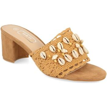 Schoenen Dames Leren slippers H&d YZ19-150 Camel