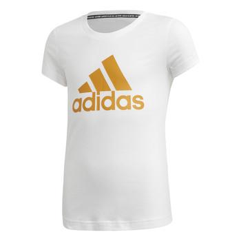 Textiel Meisjes T-shirts korte mouwen adidas Performance YG MH BOS TEE Wit