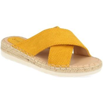 Schoenen Dames Leren slippers Suncolor 9082 Amarillo