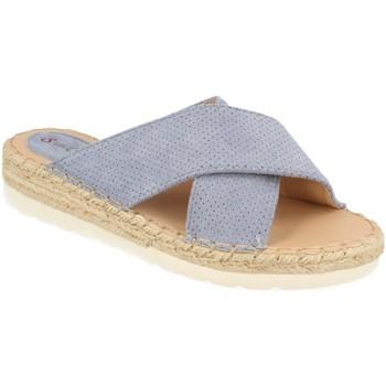 Schoenen Dames Leren slippers Suncolor 9082 Jeans