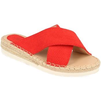 Schoenen Dames Leren slippers Suncolor 9082 Rojo