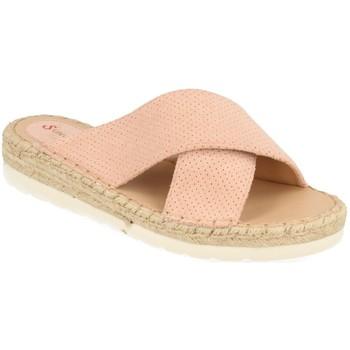 Schoenen Dames Leren slippers Suncolor 9082 Rosa
