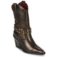 Schoenen Dames Enkellaarzen Bronx NEW KOLE Zwart / Goud